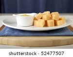 Dutch treat of cheese with spicy mustard - stock photo