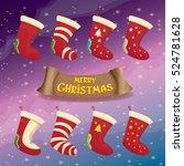 vector cartoon cute christmas... | Shutterstock .eps vector #524781628