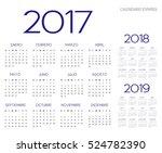 spanish calendar 2017 2018 2019 ... | Shutterstock .eps vector #524782390
