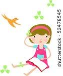 girl reading a book | Shutterstock .eps vector #52478545