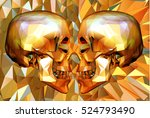 two low polygon skull in side... | Shutterstock .eps vector #524793490