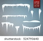Set Of Snow Icicles Isolated O...