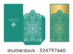 vector wedding card laser cut...   Shutterstock .eps vector #524797660