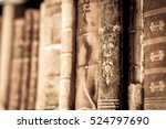 books with leather covers in a... | Shutterstock . vector #524797690