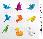 Stock vector origami birds vector pack 524798773