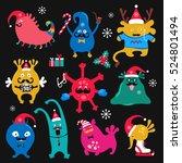 cute winter holidays monsters... | Shutterstock .eps vector #524801494