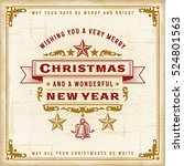 vintage christmas typography.... | Shutterstock .eps vector #524801563