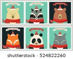 set of christmas cards with... | Shutterstock .eps vector #524822260