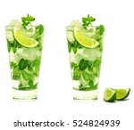 mojito isolated on white... | Shutterstock . vector #524824939