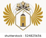 classy emblem made with eagle...   Shutterstock .eps vector #524825656