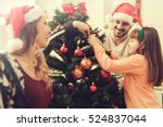 christmas photo of a happy... | Shutterstock . vector #524837044