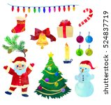 set with funny christmas... | Shutterstock .eps vector #524837719