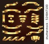 set of beautiful festive gold... | Shutterstock .eps vector #524847100