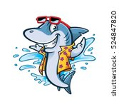 Cartoon Shark With Beachwear...