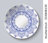 porcelain plate with a blue... | Shutterstock . vector #524848150