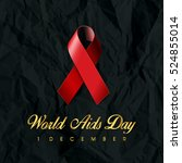 world aids day with red ribbon... | Shutterstock .eps vector #524855014