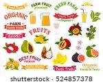 fruit juice badges set. organic ... | Shutterstock .eps vector #524857378