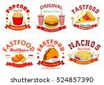 fast food cafe badge set.... | Shutterstock .eps vector #524857390
