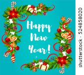 happy new year greeting card... | Shutterstock .eps vector #524858020