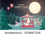 christmas carousel greetings... | Shutterstock .eps vector #524867134