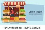 farm market organic eco fruits... | Shutterstock .eps vector #524868526