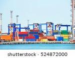 port cargo crane and container  ... | Shutterstock . vector #524872000