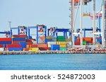 port cargo crane and container... | Shutterstock . vector #524872003