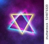 illustration of neon triangle... | Shutterstock .eps vector #524873320