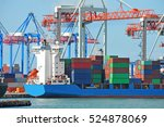 port cargo crane  ship and... | Shutterstock . vector #524878069