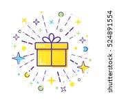 vector line style logo gift box ...