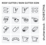 roof gutter or rain gutter for... | Shutterstock .eps vector #524892946