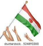 team of peoples hands raising... | Shutterstock . vector #524893300