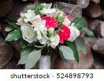 wedding bouquet of roses ... | Shutterstock . vector #524898793