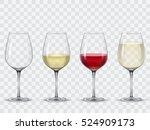 set transparent vector wine... | Shutterstock .eps vector #524909173