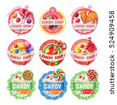 vector set of lollipop  candy... | Shutterstock .eps vector #524909458