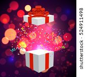 open xmas box with confetti on... | Shutterstock .eps vector #524911498