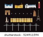 france landmarks travel and... | Shutterstock .eps vector #524911594