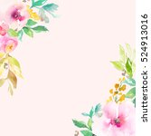 cute  pink watercolor flowers... | Shutterstock . vector #524913016