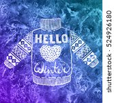 hello winter text and knitted...   Shutterstock .eps vector #524926180