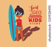 tan surfing girl character....   Shutterstock .eps vector #524928490