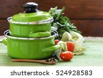 green cooking pot and... | Shutterstock . vector #524928583