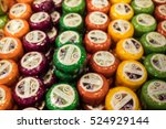 blur of famous dutch cheeses. a ... | Shutterstock . vector #524929144