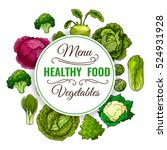 healthy food menu. vegetables... | Shutterstock .eps vector #524931928