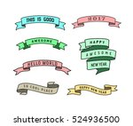 """set of colored ribbons  """"happy...   Shutterstock .eps vector #524936500"""