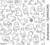 Stock vector cute cartoon cat vector icons seamless pattern and background 524942290