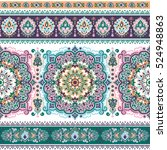 indian floral paisley medallion ... | Shutterstock .eps vector #524948863