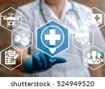 doctor presses location plus... | Shutterstock . vector #524949520