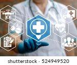 doctor presses location plus...   Shutterstock . vector #524949520