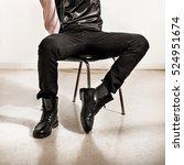 fashion man's legs in black... | Shutterstock . vector #524951674