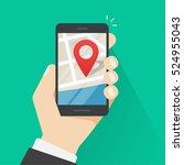 mobile phone geo location  hand ... | Shutterstock .eps vector #524955043